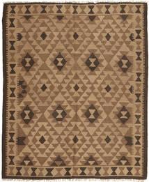 Kelim Teppich  162X195 Echter Orientalischer Handgewebter Hellbraun/Braun (Wolle, Persien/Iran)