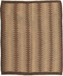 Kelim Teppich  156X189 Echter Orientalischer Handgewebter Hellbraun/Braun (Wolle, Persien/Iran)