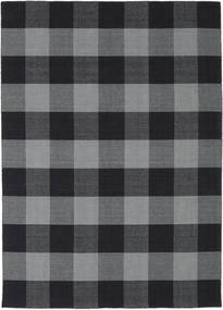 Check Kilim Rug 210X290 Authentic  Modern Handwoven Dark Grey/Black (Wool, India)