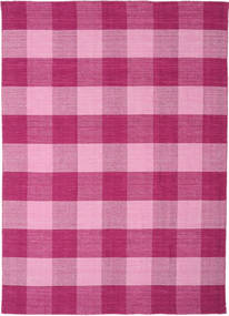 Check Kilim Rug 210X290 Authentic  Modern Handwoven Pink/Light Pink (Wool, India)