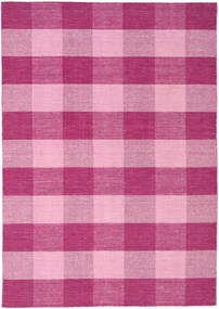 Check Kilim Rug 160X230 Authentic  Modern Handwoven Light Pink/Pink (Wool, India)