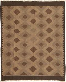 Kelim Teppich 145X188 Echter Orientalischer Handgewebter Braun/Hellbraun (Wolle, Persien/Iran)