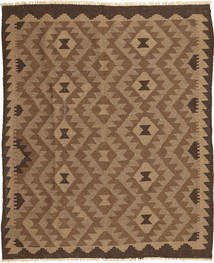 Kelim Teppich 154X192 Echter Orientalischer Handgewebter Braun/Hellbraun (Wolle, Persien/Iran)
