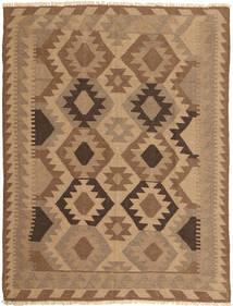 Kelim Teppich  146X194 Echter Orientalischer Handgewebter Braun/Hellbraun (Wolle, Persien/Iran)