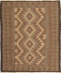Kelim Teppich  153X186 Echter Orientalischer Handgewebter Braun/Hellbraun (Wolle, Persien/Iran)