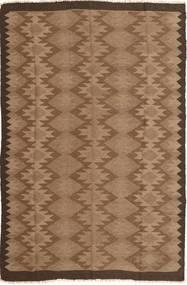 Kelim Teppich 154X243 Echter Orientalischer Handgewebter Braun/Dunkelbraun (Wolle, Persien/Iran)