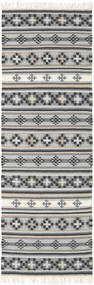 Kilim Cizre Rug 80X250 Authentic  Modern Handwoven Hallway Runner  Light Grey/Dark Grey (Wool, India)
