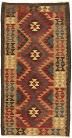Kelim Maimane Matta 104X201 Äkta Orientalisk Handvävd Mörkbrun/Ljusbrun (Ull, Afghanistan)
