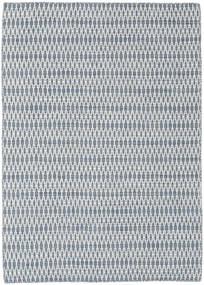 Kelim Long Stitch - Blau Teppich  140X200 Echter Moderner Handgewebter Hellgrau/Weiß/Creme (Wolle, Indien)