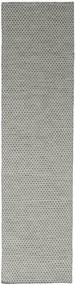 Kilim Honey Comb - Grey Rug 80X340 Authentic  Modern Handwoven Hallway Runner  Light Grey/Dark Grey (Wool, India)