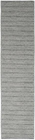 Kelim Long Stitch - Mörk Grå Matta 80X340 Äkta Modern Handvävd Hallmatta Ljusgrå/Mörkgrå (Ull, Indien)