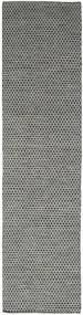 Kelim Honey Comb - Schwarz/Grau Teppich  80X340 Echter Moderner Handgewebter Läufer Dunkelgrau/Hellgrau (Wolle, Indien)