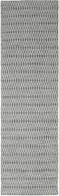 Kelim Long Stitch - Mörk Grå Matta 80X290 Äkta Modern Handvävd Hallmatta Mörkgrå/Ljusgrå (Ull, Indien)