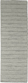 Kilim Long Stitch - Grey Rug 80X240 Authentic  Modern Handwoven Hallway Runner  Light Grey/Dark Grey (Wool, India)