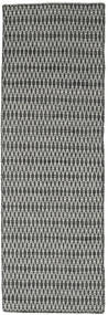 Kilim Long Stitch - Black/Grey Rug 80X240 Authentic  Modern Handwoven Hallway Runner  Dark Grey/Light Grey (Wool, India)