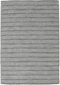 Kelim Long Stitch - Svart/Grå Matta 160X230 Äkta Modern Handvävd Ljusgrå/Mörkgrå (Ull, Indien)