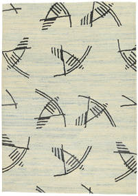 Handtufted 絨毯 140X200 モダン 薄い灰色/暗めのベージュ色の/ホワイト/クリーム色 (ウール, インド)