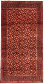 Hamadan Teppich  110X215 Echter Orientalischer Handgeknüpfter Dunkelrot/Rost/Rot (Wolle, Persien/Iran)