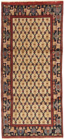 Hamadan Rug 95X210 Authentic  Oriental Handknotted Hallway Runner  Light Brown/Dark Brown/Brown (Wool, Persia/Iran)