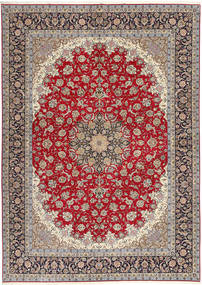 Isfahan Silk Warp Rug 300X417 Authentic Oriental Handknotted Light Brown/Light Grey Large (Wool/Silk, Persia/Iran)