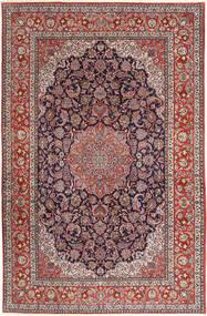 Isfahan Silkerenning Teppe 200X310 Ekte Orientalsk Håndknyttet Mørk Lilla/Mørk Rød (Ull/Silke, Persia/Iran)