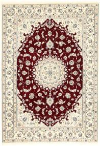 Nain 6La Matta 107X155 Äkta Orientalisk Handknuten Beige/Mörkröd (Ull/Silke, Persien/Iran)