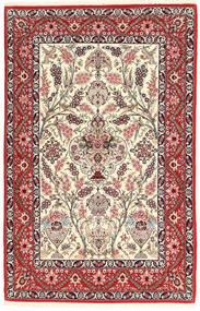 Isfahan Seidenkette Teppich  117X180 Echter Orientalischer Handgeknüpfter Hellgrau/Braun (Wolle/Seide, Persien/Iran)