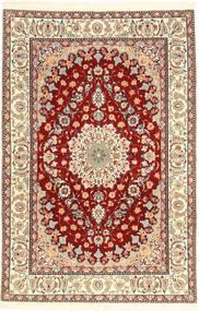Isfahan Seidenkette Teppich  110X170 Echter Orientalischer Handgeknüpfter Beige/Hellbraun (Wolle/Seide, Persien/Iran)