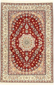Isfahan Silkesvarp Matta 110X170 Äkta Orientalisk Handknuten Beige/Ljusbrun (Ull/Silke, Persien/Iran)