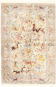 Qum Silk Rug 140X211 Authentic Oriental Handknotted Beige/Light Pink (Silk, Persia/Iran)