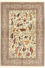 Ilam Sherkat Farsh Jedwab Dywan 150X220 Orientalny Tkany Ręcznie Beżowy/Brązowy/Jasnobrązowy (Wełna/Jedwab, Persja/Iran)