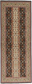 Tabriz 50 Raj Rug 80X214 Authentic Oriental Handknotted Hallway Runner Light Brown/Dark Brown (Wool/Silk, Persia/Iran)
