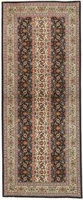 Tabriz 50 Raj Tapis 80X210 D'orient Fait Main Tapis Couloir Marron Clair/Noir (Laine/Soie, Perse/Iran)
