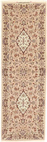 Isfahan Silk Warp Signed: Davari Rug 67X210 Authentic Oriental Handknotted Hallway Runner Dark Beige/Light Brown (Wool/Silk, Persia/Iran)