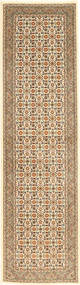 Tabriz 50 Raj Matta 76X293 Äkta Orientalisk Handknuten Hallmatta Ljusbrun/Beige (Ull/Silke, Persien/Iran)