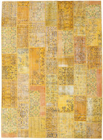 Patchwork Matto 253X346 Moderni Käsinsolmittu Vaaleanruskea/Keltainen Isot (Villa, Turkki)