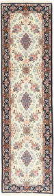 Isfahan Silk Warp Rug 84X315 Authentic  Oriental Handknotted Hallway Runner  Light Grey/Beige (Wool/Silk, Persia/Iran)