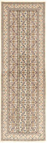 Tabriz 50 Raj Rug 78X251 Authentic  Oriental Handknotted Hallway Runner  Light Grey/Beige (Wool/Silk, Persia/Iran)