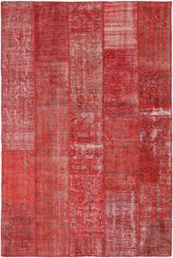 Patchwork Matto 203X304 Moderni Käsinsolmittu Tummanpunainen/Ruoste (Villa, Turkki)