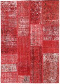 Patchwork Rug 143X203 Authentic  Modern Handknotted Crimson Red/Rust Red (Wool, Turkey)