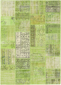 Patchwork Rug 161X226 Authentic  Modern Handknotted Light Green/Olive Green (Wool, Turkey)