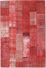 Patchwork Rug 202X302 Authentic  Modern Handknotted Dark Red/Rust Red (Wool, Turkey)
