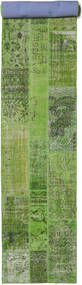 Patchwork Rug 81X511 Authentic  Modern Handknotted Hallway Runner  Dark Green/Green  (Wool, Turkey)