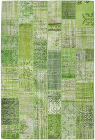 Patchwork Rug 202X302 Authentic  Modern Handknotted Light Green/Olive Green (Wool, Turkey)
