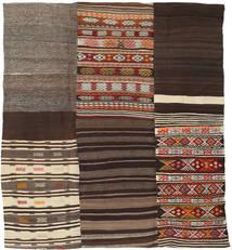 キリム パッチワーク 絨毯 204X227 モダン 手織り 濃い茶色/深紅色の (ウール, トルコ)