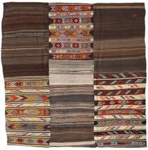 Kelim Patchwork Matta 233X234 Äkta Modern Handvävd Kvadratisk Mörkbrun/Ljusbrun (Ull, Turkiet)