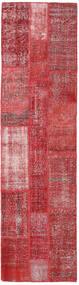 Patchwork Matto 80X303 Moderni Käsinsolmittu Käytävämatto Ruoste/Tummanpunainen (Villa, Turkki)