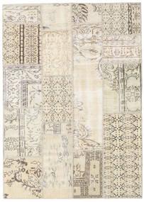 Patchwork Matto 140X196 Moderni Käsinsolmittu Beige/Vaaleanruskea (Villa, Turkki)