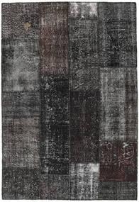 Patchwork Matto 141X206 Moderni Käsinsolmittu Tummanharmaa/Musta (Villa, Turkki)