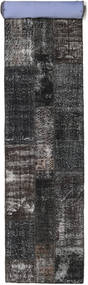 Patchwork Rug 80X498 Authentic  Modern Handknotted Hallway Runner  Black/Dark Grey (Wool, Turkey)